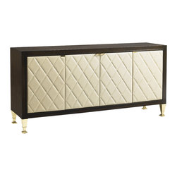 Lexington - Aquarius Zenith Media Console - Select hardwoods in a walnut finish are complemented by the solid brass ferrules and hardware. The four quilted leather door fronts are available only as shown, and open to reveal six adjustable shelves and grommets for electrical cords.
