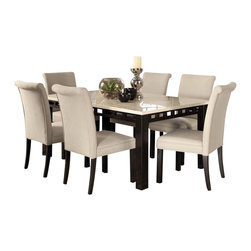 Standard Furniture - Standard Furniture Gateway White 7 Piece Dining Room Set w/ Parsons Chairs in Da - Impressive proportions and bold styling give Gateway Dining a dynamic contemporary personality.