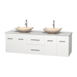 """Wyndham Collection - Centra 72"""" White Double Vanity, White Man-Made Stone Top, Ivory Marble Sinks - Simplicity and elegance combine in the perfect lines of the Centra vanity by the Wyndham Collection. If cutting-edge contemporary design is your style then the Centra vanity is for you - modern, chic and built to last a lifetime. Available with green glass, pure white man-made stone, ivory marble or white carrera marble counters, with stunning vessel or undermount sink(s) and matching mirror(s). Featuring soft close door hinges, drawer glides, and meticulously finished with brushed chrome hardware. The attention to detail on this beautiful vanity is second to none."""