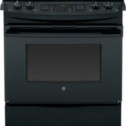 GE - JS750DFBB Slide-In Electric Range & In Black - The GE JS750 30 in 44 Cu Ft Slide-In Electric Range with Self Cleaning oven in Stainless Steel features True European Convection Cooking with Precise Air plus Self-Cleaning with a Steam Clean option A Tri-Ring burner with 12 in 9 in and 6 in capabili...