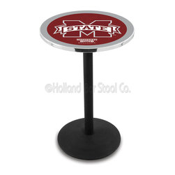 Holland Bar Stool - Holland Bar Stool L214 - Black Wrinkle Mississippi State Pub Table - L214 - Black Wrinkle Mississippi State Pub Table belongs to College Collection by Holland Bar Stool Made for the ultimate sports fan, impress your buddies with this knockout from Holland Bar Stool. This L214 Mississippi State table with round base provides a commercial quality piece to for your Man Cave. You can't find a higher quality logo table on the market. The plating grade steel used to build the frame ensures it will withstand the abuse of the rowdiest of friends for years to come. The structure is powder-coated black wrinkle to ensure a rich, sleek, long lasting finish. If you're finishing your bar or game room, do it right with a table from Holland Bar Stool. Pub Table (1)