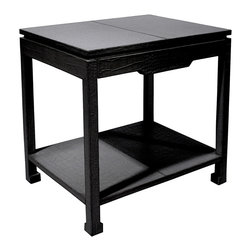 """Jonathan Adler - Jonathan Adler Preston Black Side Table with Drawer - The animalistic allure of Jonathan Adler's Preston side table elicits jungle fever with its exotic vigor. Faux crocodile leather in black spices up the modern furnishing with a textured flourish, while a drawer and additional shelf provide functional storage. 26""""W x 20""""D x 25""""H; Mock croc in stamped leather"""