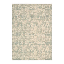 """Nourison - Nepal Transitional Seafoam Distressed Ikat 3'6"""" x 5'6"""" Nourison Rug by RugLots - Experience the texture of a traditional Nepalese rug with this exciting collection of unique area rugs. It features captivating designs in exotic hues, hand-carved for additional dimension. Add comfort, as well as a beautiful and elegant design element, to any setting. Nepal is sure to impress everyone."""