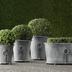 Estate Zinc Ring Round Planter - A classic option for topiaries, these Restoration Hardware planters are easy to care for and look great in an outdoor garden.