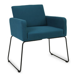 Bryght - Delma Teal Dining Armchair - Clean, modern and dressy, the Delma dining armchair brings a trendy element to the table. A comfortable upholstered seat perfectly offsets sleek metal legs. Choose from a variety of colors for that perfect pop of color.