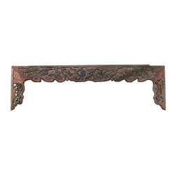 Golden Lotus - Old Chinese Mountain Scenery Carving Wall Decor Panel Frame - This is an old panel / carving wood art with oriental mountain scenery carving. It can be as a wall accent decoration or reframed as mirror or others.