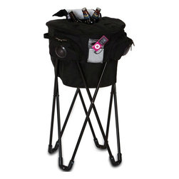 """Picnic Plus - Cooladio Music Tub Cooler, Black - Picnic Plus Insulated Cooladio Music Tub Cooler With Stand, Stereo Speakers And Amplifier, Black. Color/Design: Black; Made with a durable 600D polyester exterior; Large leak proof insulated cooler section; Cooladio Music Tub Cooler will hold over 72 cans or beverages; With the easy access top flap door; Plug in your iPod, MP3 or digital musical device in the secure front pocket; Cooladio Music Tub Cooler has a drain plug and the liner can be washed down; Entire cooler, lid and stand sets up and folds in seconds and stores in the included travel bag; Patent Pending. Dimensions: 33""""H x 18""""D"""
