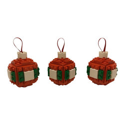 BrickABlocks - Three Sphere Christmas Ornaments in Red, Green, and White (Made with real LEGO) - The red, green, and white sphere Christmas ornaments in this listing were handmade using new and re-furbished LEGO brand bricks. A holiday season appropriate dark red hoop string is attached to each ornament, so they are ready to be displayed right out of the box!