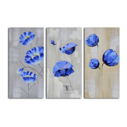 Flighty blue florals Hand Painted 3 Piece Canvas Set - Are you looking for original art? Is it time to replace your framed posters with something fresh and vital? Consider this three-piece canvas. Grouped together, they make a bold statement, but separated, they still stand on their own.
