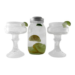Ball Mason Jar Cocktail Shaker Set - This handmade Mason jar cocktail shaker set be a hit at your next gathering. The margarita or martini shaker is a repurposed 1 quart Ball Mason jar with the original pewter toned ring, solid lid and strainer lid. Both the solid and strainer lids fit under the ring, use the solid for transporting or mixing your favorite adult beverage, remove and use the strainer for pouring. It makes a really cute bar set.