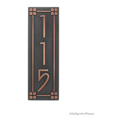 "Vertical American Craftsman Home Numbers with Lines and Squares Border 6"" x 18"" - For your American Craftsman Home. The font's simple, classic, no-nonsense design would make Frank Lloyd Wright flash one of his famous toothy grins and dance a little jig. We think this is very representative of the American Craftsman movement and a good fit for your bungalow, mission, prairie, or arts and crafts home."