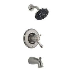 Delta - Delta T17T478-SS Leland TempAssure 17T Series Tub and Shower Trim (Stainless) - The Leland collection features a chess-piece like design and modern style, giving your home a beautiful touch.