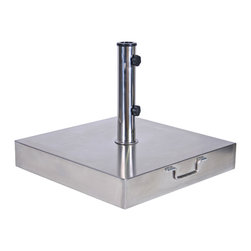 Stainless Steel Umbrella Base, 100lbs - Built with stainless steel and concrete, the square umbrella base ensures that your umbrella will remain securely in place with style and practicality. Each base comes with adjustable tightening knobs to help you easily secure most standard sized umbrellas. The 100lb base also features solid wheels and handle so that the base can be moved easily.