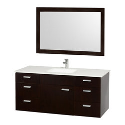 Wyndham Collection - Bathroom Vanity Set in Espresso - Includes one bathroom vanity, one white porcelain undermount square sink, drain assemblies, P traps, 4 in. backsplash and matching mirror. Faucet not included. Man-made stone top. One functional door. Six functional drawers. Plenty of counter space. 8 stage preparation, veneering and coloring process. Water resistant sealed color. Cutting edge and unique styling. Modern wall mount design. Fully extending under mount soft close drawer slides. Concealed soft close door hinges. Single hole faucet mount. Metal exterior hardware. Made from wood, marble and MDF. White and brushed chrome color. Minimal assembly required. Care Instruction. Vanity: 52 in. W x 22 in. D x 23.5 in. H. Mirror: 70 in. W x 33 in. H