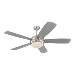 Monte Carlo Fan Company - Monte Carlo Fan Company 5DI52BSD-L Discus 1 Light Indoor Ceiling Fans in Brushed - 52in 5 Blade Silver