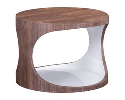 Zuo - Triton Side Table - The Triton Side Table boasts clean lines and an open elliptical form. The beautiful walnut wood veneer wraps the top and sides of the table, contrasting warmly with the glossy white interior. We love the contrast of lacquered and natural surfaces, which make this modern side table sophisticated and versatile. It's bright open concept is perfect for displaying your favorite collection of books and magazines. The Triton Side Table combines a sturdy design and graceful proportions, and is a versatile accent to your modern seating arrangement. The Triton collection also features a coffee table.