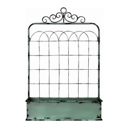 "Enchante Accessories Inc - Distressed Metal Flower Box / Planter / Patio Container 20""x 30""x 11"", Green - Versatile enough for indoor or outdoor use, this wire metal planter provides an elegant place to hold flower pots and plants.  The distressed metal container is crafted from durable wrought iron and features a European inspired design with ornate French scrollwork across the top and a curved metal grid that mimics the construction and shape of old fashioned garden trellises."