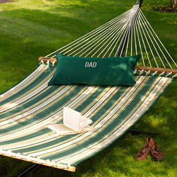 Quilted Sunbrella Hammock - I have this Sunbrella hammock in the backyard, and it's everyone's favorite space!