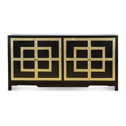 Draper Lacquered Greek Key Black & Gold Cabinet - Dorthy Draper would have loved this fabulous black and gold buffet cabinet!  Gold finish surrounds the Greek key door molding.  This four door cabinet the is the perfect Chinoiserie addition to a bedroom or living space. This hand made and finished piece features brass hardware.  Finish with a stunning lamp from our collection and our Greek key rug.