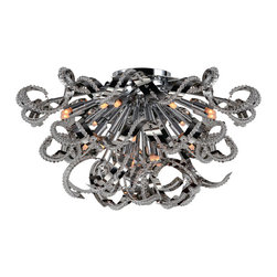 """Worldwide Lighting - Medusa 19 Light Chrome Finish Crystal 26"""" Round Flush Mount Ceiling Light, Large - This stunning 19-light ceiling light only uses the best quality material and workmanship ensuring a beautiful heirloom quality piece. Featuring a radiant chrome finish and finely cut premium grade crystals with a lead content of 30%, this elegant ceiling light will give any room sparkle and glamour. Worldwide Lighting Corporation is a privately owned manufacturer of high quality crystal chandeliers, pendants, surface mounts, sconces and custom decorative lighting products for the residential, hospitality and commercial building markets. Our high quality crystals meet all standards of perfection, possessing lead oxide of 30% that is above industry standards and can be seen in prestigious homes, hotels, restaurants, casinos, and churches across the country. Our mission is to enhance your lighting needs with exceptional quality fixtures at a reasonable price."""