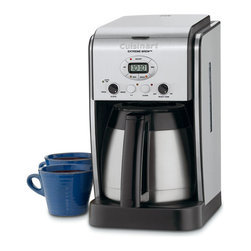 Cuisinart Extreme Brew 10 Cup Thermal Coffeemaker - Always looking forward to that first cup of hot fresh coffee? Well now you can get it up to 25% faster with the Cuisinart Extreme Brew™ 10-Cup Thermal Programmable Coffeemaker! Packed with all your favorite features  this is truly the ultimate coffee-lover's machine.Product Features                        10-Cup Thermal Carafe with a drip-free pour spout and a comfortable handle for easy serving            Extreme Brew™ feature uses re-engineered brewing technology to deliver coffee up to 25% faster            Brew Strength Control allows you to enjoy your coffee Regular or Bold            Fully Automatic with 24-hour programmability  auto shutoff  and 1 to 4 cup setting            Premium Stainless Steel 10-Cup Thermal Carafe is double-walled insulated to keep coffee hto for hours.            Easy-to-Fill Water Reservoir lifts up for quick fill-ups  and has a window on the side of unit to display water level            Brew Pause™ feature lets you enjoy a cup of coffee before the brewing cycle has finished            60-Second Reset recalls settings and position in the brewing process in case of loss of power            Gold Tone Filter and Charcoal Water Filter            Limited 3 year warranty