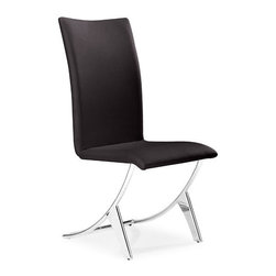 Zuo Modern - Delfin Dining Chair Espresso - Bring contemporary style to your living or dining area with our Delfin Dining Chair. This sleek chair provide a very comfortable seat suitable for your dining area or office. It is made with a chrome plated steel frame and a leatherette seat and back