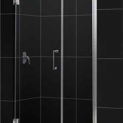 DreamLine - DreamLine SHDR-20427210C-04 Unidoor 42 to 43in Frameless Hinged Shower Door, Cle - The Unidoor from DreamLine, the only door you need to complete any shower project. The Unidoor swing shower door combines premium 3/8 in. thick tempered glass with a sleek frameless design for the look of a custom glass door at an amazing value. The frameless shower door is easy to install and extremely versatile, available in an incredible range of sizes to accommodate shower openings from 23 in. to 61 in.; Models that fit shower openings wider than 31 in. have an adjustable wall profile which allows for width or out-of-plumb adjustments up to 1 in.; Choose from the many shower door options the Unidoor collection has to offer for your bathroom renovation. 42 - 43 in. W x 72 in. H ,  3/8 (10 mm) thick clear tempered glass,  Chrome, Brushed Nickel or Oil Rubbed Bronze hardware finish,  Frameless glass design,  Width installation adjustability: 42 - 43,  Out-of-plumb installation adjustability: Up to 1 in. one side (total 1 in.),  Self-closing solid brass wall mount hinges,  Door opening: 23 in.,  Stationary panel: 18 in.,  Reversible for right or left door opening installation,  Material: Tempered Glass, Brass