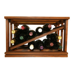 Mini-Stack Series Diamond Slat Wine Rack - The Mini-Stack Series Diamond Slat wine rack goes perfectly with the other racks in our Mini-Stack Series. This Diamond Slat wine rack holds 12 wine bottles and ships out fully assembled from Cincinnati, Ohio.  Mix and match any of our Mini-Stack Series wine racks and stack them side by side and on top of one another for up to ten feet in height.