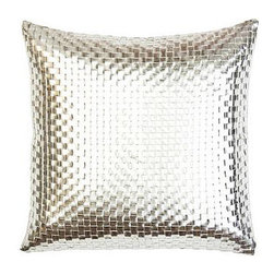 Sivaana Metallic Silver Basketweave Pillow - This pillow adds the right amount of shine to any neutral sofa.