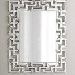 Greek-Key Mirror - The puzzle-like quality of this mirror looks very chic and unique. It'd be the perfect mirror to make a statement in an entryway.