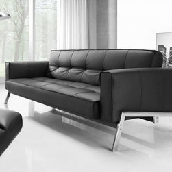 Creative Furniture - Romano Modern Convertible Sofa Bed in Black Eco-Leather - If you have not enough space for a single bed, this Creative Furniture Romano Convertible Sofa Bed in Black Eco-Leather is a great addition to your home. It offers a gorgeous balance of functionality and style.    Features:
