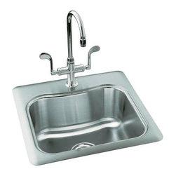 KOHLER - KOHLER K-3363-2-NA Staccato Single-Basin Self-Rimming Entertainment Kitchen Sink - KOHLER K-3363-2-NA Staccato Single-Basin Self-Rimming Entertainment Kitchen Sink with Two-Hole Faucet Punching