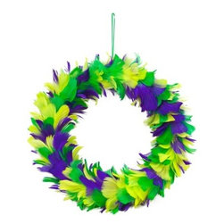Mardi Gras Feather Wreath - I love this feather wreath. It's actually quite tasteful and stylish.