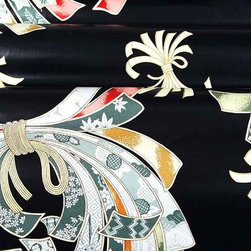 Noshi Upholstery Fabric in Ink - Noshi Asian Themed Upholstery Fabric in Ink is a black glazed, 100% cotton fabric with a unique pattern and great sheen. Exotic and eye-catching, this fabric is ideal for upholstering projects or pillows. Width: 54?; Repeat: L:39?