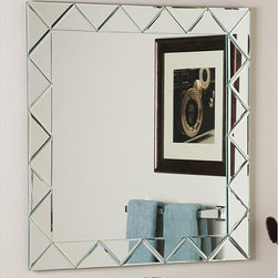 None - Luciano Frameless Wall Mirror - Let the sun shine in with this distinctive Luciano frameless mirror Beveled wall mirror surrounds the main mirror This frameless mirror is a large impressive piece which will surely stand out in any home
