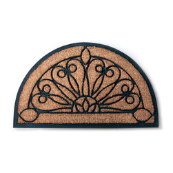 Entryways - Tulips Half Round Recycled Rubber Bootscraper Doormat - Intricate in design, this mat is crafted with the perfect combination of coconut fiber and recycled rubber. The result is a bootscraper designed to stand the test of time. It's tough enough to scrape boots on, yet unmistakably elegant to impress all your visitors.