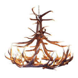 Muskoka Lifestyle Products - Rustic Elk 12 Antler Chandelier with 12 Lights - Our Rustic Elk 12 Antler Chandelier is the best faux antler chandelier available on the market. We have taken our replication process from our other rustic decor items and matched the authentic finish. Real antlers are used to model the reproduction for an exact and comparable result. The process to create the antler chandeliers uses a time proven, cast resin system to ensure perfection in every piece. We have hand-stained and antiqued each antler to achieve the exact comparable match to the real antler. Bring the perfect rustic decor to your home, cabin, or office with these antler chandelier reproductions. From the large majestic options to the quiet accent lights, our reproduction antler chandeliers are perfect for entry ways, pool tables, dining room tables, living rooms, offices, or anywhere you want to hang them to create the perfect, natural look in any room. All antler chandeliers are UL listed to ensure absolute safety, quality, and US building code parameters are met.