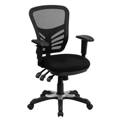 Flash Furniture - Mid-back Black Mesh Chair with Triple Paddle Control - If you're looking for an easy to adjust office chair than this chair by Flash Furniture is perfect for you. The triple paddle mechanisms control the back angle adjustment/ tilt control and pneumatic seat lift. This ventilated mesh computer chair will give you the comfort you desire throughout the day.