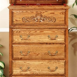 Bebe Furniture - 5 Drawer Flip Top Antique Jewelry Armoire - Made in USA. Traditional scalloped platform base. Ornate leaf wood carved design on panel. Antique handles. Secret hidden flip top lid for concealed storage of jewelry items. Oversized felt lined jewelry tray. Beveled mirror. 4 pull out drawers. Constructed from kiln dried North Red Oak. 17 in. L x 36 in. W x 54 in. H (144 lbs.)