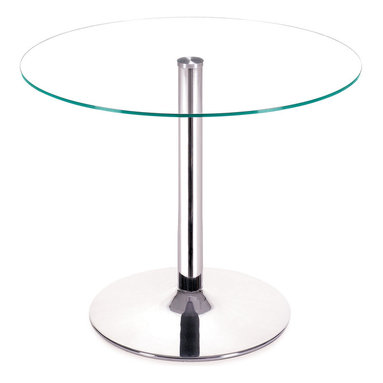 Zuo - Galaxy Dining Table - The Galaxy Dining Table puts a spin on a modern spin on a traditional table.  The round table is nothing new, but this smaller dining table has a sleek chromed steel tube base and the top has a clear tempered glass that make it current and sleek.  The Galaxy Dining Table is perfect for smaller rooms where space is limited.  Add this table to your dining room, breakfast nook or eat-in kitchen. All you need is two chairs to complete the set and then you will be ready to wow your guests for dinner.