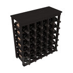 36 Bottle Kitchen Wine Rack in Redwood with Black Stain - A small wine rack with big storage. This wine rack kit is the best choice for converting tiny spaces into big wine storage. The solid wood top excels as a table for wine accessories, small plants, and wine collectables. Store 3 cases of wine properly in a space smaller than most entry tables!