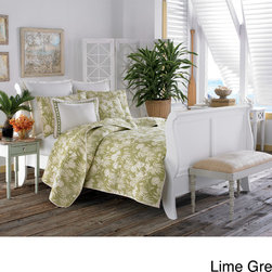 Tommy Bahama - Tommy Bahama Plantation Floral 3-piece Quilt Set - Bring a tropical look to your bedroom with this Tommy Bahama floral three-piece quilt set. Featuring a lime-green-and-white print, this quilt with coordinating pillow shams brings a light, airy feel to your bed. The cotton fabric ensures extra comfort.