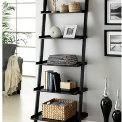 Delaris 5-Tier Ladder Shelf - Black - The Furniture of America Delaris 5-Tier Ladder Shelf - Black displays your books, pictures, and more in high style. With its casual ladder design and five generous shelves, this shelf is just right for you. It's constructed of solid wood and veneers and finished in deep black.