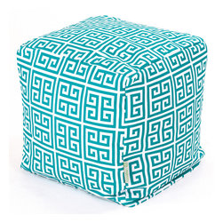 Majestic Home - Outdoor Pacific Towers Small Cube - Add style and color to your living room or outdoor seating arrangement with Majestic Home Goods Small Cube Ottoman. This cube is perfect for use as a footstool, side table or as extra seating for guests. Woven from outdoor treated polyester, these cubes have up to 1000 hours of U.V. protection and are able to withstand all of natures elements. The beanbag inserts are eco-friendly by using up to 50% recycled polystyrene beads, and the removable zippered slipcovers are conveniently machine-washable.