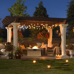 Outdoor Greatroom Company Tuscany Pergola w/ Wood Beams - While the look of the Tuscany Pergola from the Outdoor GreatRoom Company offers the classic column-and-beam form found in ancient Rome or Athens, the materials are completely modern, granting contemporary function and a long outdoor life