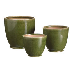 Silk Plants Direct - Silk Plants Direct Round Ceramic Pot (Pack of 3) - Green - Silk Plants Direct specializes in manufacturing, design and supply of the most life-like, premium quality artificial plants, trees, flowers, arrangements, topiaries and containers for home, office and commercial use. Our Round Ceramic Pot includes the following: