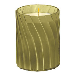 """Everybody's Ayurveda - Earth Swirl Glass Filled Vessel Ayurvedic Candle - Palm Green - This refreshing herbal blend contains notes that naturally neutralize odors like basil, pine, ginger and eucalyptus. Elements 8.5 oz. Swirl Glass Filled Vessel; Filled Vessel. 100% soy wax Ayurvedic Candle in Glass. Made in the U.S.A. 3 1/4"""" Wide x 3 1/4"""" Deep x 4"""" Tall."""