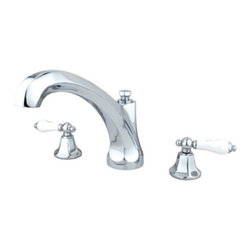 """Kingston Brass - Polished Chrome Roman Tub Filler with Porcelain Lever Handles KS4321PL - Solid brass construction for durability and reliability, Premium color finish resists tarnishing and corrosion, 13.0 GPM at 60 PSI, 9 1/4"""" spout reach, 6 3/8"""" spout height, 6 3/8"""" spout clearance, 3/4""""-14NPS, 1/4 turn ceramic disc cartridge, 8""""-36"""" widespread installation, Ten year limited warranty.. Manufacturer: Kingston Brass. Model: KS4321PL. UPC: 663370117138. Product Name: Kingston Brass Metropolitan Roman Tub Filler with Porcelain Lever Handles. Collection / Series: Metropolitan. Finish: Polished Chrome. Theme: Contemporary / Modern. Material: Brass. Type: Faucet. Features: Drip-free ceramic cartridge"""