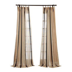 "Exclusive Fabrics & Furnishings, LLC - Carlton Natural Linen Blend Stripe Sheer Curtain - 66% Polyester 34% Linen. 3"" Pole Pocket. Unlined. Imported. Dry Clean Only."