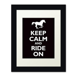 Keep Calm Collection - Keep Calm and Ride On, framed print (black) - This item is an Art Print which means it is a higher-quality art reproduction than a typical poster. Art prints are usually printed on thicker paper, resulting in a high quality finish. This print is produced on a 270 gsm fine art paper stock.